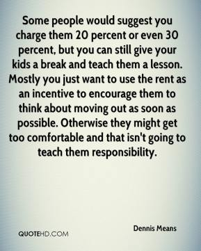 Dennis Means - Some people would suggest you charge them 20 percent or even 30 percent, but you can still give your kids a break and teach them a lesson. Mostly you just want to use the rent as an incentive to encourage them to think about moving out as soon as possible. Otherwise they might get too comfortable and that isn't going to teach them responsibility.