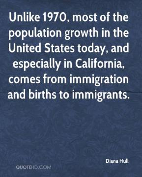 Diana Hull - Unlike 1970, most of the population growth in the United States today, and especially in California, comes from immigration and births to immigrants.