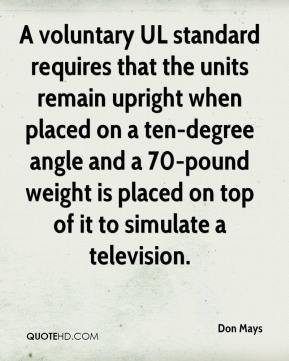 Don Mays - A voluntary UL standard requires that the units remain upright when placed on a ten-degree angle and a 70-pound weight is placed on top of it to simulate a television.