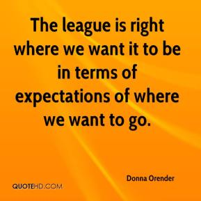 The league is right where we want it to be in terms of expectations of where we want to go.