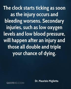 Dr. Maurizio Miglietta - The clock starts ticking as soon as the injury occurs and bleeding worsens. Secondary injuries, such as low oxygen levels and low blood pressure, will happen after an injury and those all double and triple your chance of dying.