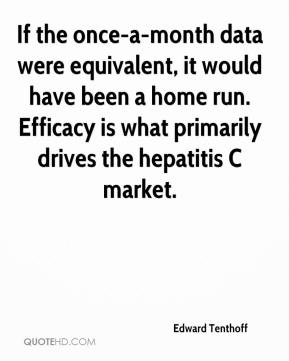 Edward Tenthoff - If the once-a-month data were equivalent, it would have been a home run. Efficacy is what primarily drives the hepatitis C market.