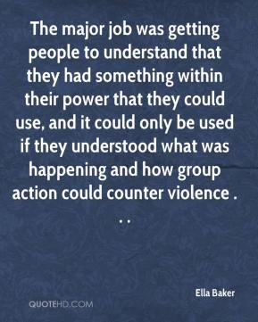 The major job was getting people to understand that they had something within their power that they could use, and it could only be used if they understood what was happening and how group action could counter violence . . .