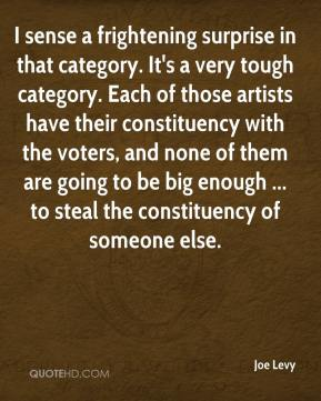 Joe Levy  - I sense a frightening surprise in that category. It's a very tough category. Each of those artists have their constituency with the voters, and none of them are going to be big enough ... to steal the constituency of someone else.
