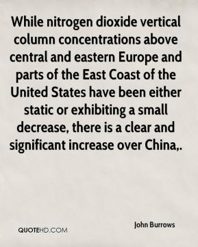 John Burrows  - While nitrogen dioxide vertical column concentrations above central and eastern Europe and parts of the East Coast of the United States have been either static or exhibiting a small decrease, there is a clear and significant increase over China.