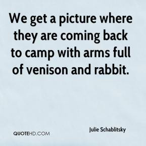 We get a picture where they are coming back to camp with arms full of venison and rabbit.