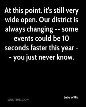 At this point, it's still very wide open. Our district is always changing -- some events could be 10 seconds faster this year -- you just never know.