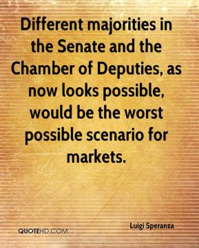 Luigi Speranza  - Different majorities in the Senate and the Chamber of Deputies, as now looks possible, would be the worst possible scenario for markets.