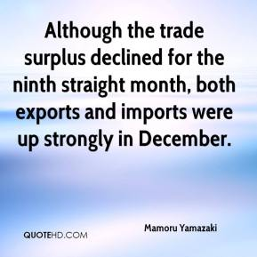 Mamoru Yamazaki  - Although the trade surplus declined for the ninth straight month, both exports and imports were up strongly in December.