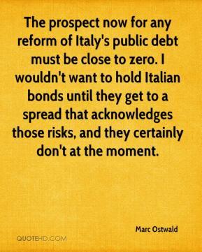 Marc Ostwald  - The prospect now for any reform of Italy's public debt must be close to zero. I wouldn't want to hold Italian bonds until they get to a spread that acknowledges those risks, and they certainly don't at the moment.