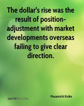 Masamichi Koike  - The dollar's rise was the result of position-adjustment with market developments overseas failing to give clear direction.