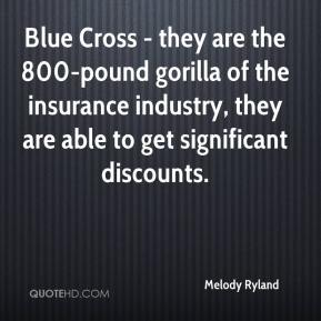 Melody Ryland  - Blue Cross - they are the 800-pound gorilla of the insurance industry, they are able to get significant discounts.
