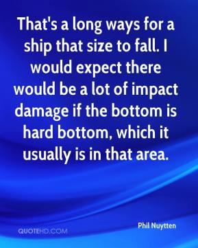 That's a long ways for a ship that size to fall. I would expect there would be a lot of impact damage if the bottom is hard bottom, which it usually is in that area.