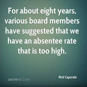 Rick Caporale  - For about eight years, various board members have suggested that we have an absentee rate that is too high.