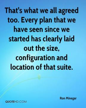 Ron Minegar  - That's what we all agreed too. Every plan that we have seen since we started has clearly laid out the size, configuration and location of that suite.