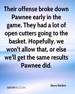 Steve Kimbro  - Their offense broke down Pawnee early in the game. They had a lot of open cutters going to the basket. Hopefully, we won't allow that, or else we'll get the same results Pawnee did.