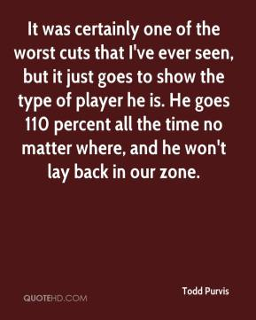 It was certainly one of the worst cuts that I've ever seen, but it just goes to show the type of player he is. He goes 110 percent all the time no matter where, and he won't lay back in our zone.