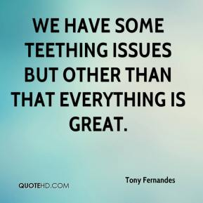 Tony Fernandes  - We have some teething issues but other than that everything is great.