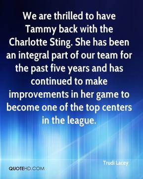 Trudi Lacey  - We are thrilled to have Tammy back with the Charlotte Sting. She has been an integral part of our team for the past five years and has continued to make improvements in her game to become one of the top centers in the league.