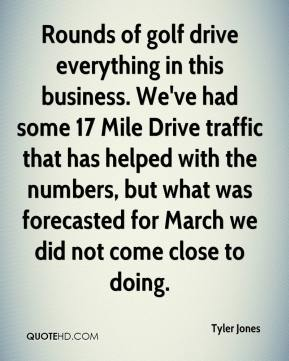 Tyler Jones  - Rounds of golf drive everything in this business. We've had some 17 Mile Drive traffic that has helped with the numbers, but what was forecasted for March we did not come close to doing.