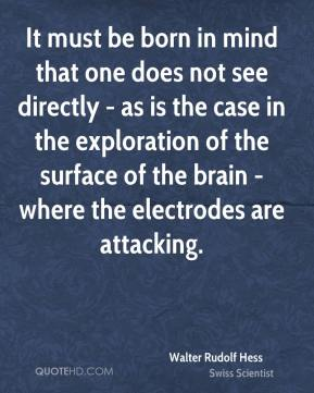 Walter Rudolf Hess - It must be born in mind that one does not see directly - as is the case in the exploration of the surface of the brain - where the electrodes are attacking.