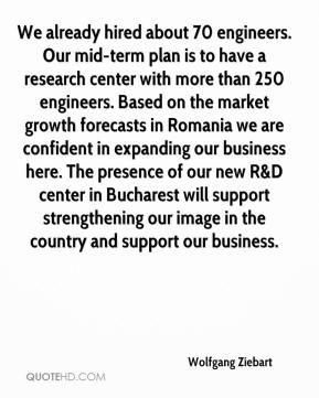 Wolfgang Ziebart  - We already hired about 70 engineers. Our mid-term plan is to have a research center with more than 250 engineers. Based on the market growth forecasts in Romania we are confident in expanding our business here. The presence of our new R&D center in Bucharest will support strengthening our image in the country and support our business.
