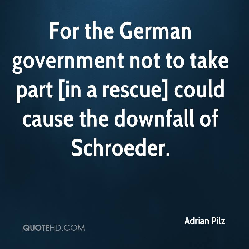 For the German government not to take part [in a rescue] could cause the downfall of Schroeder.
