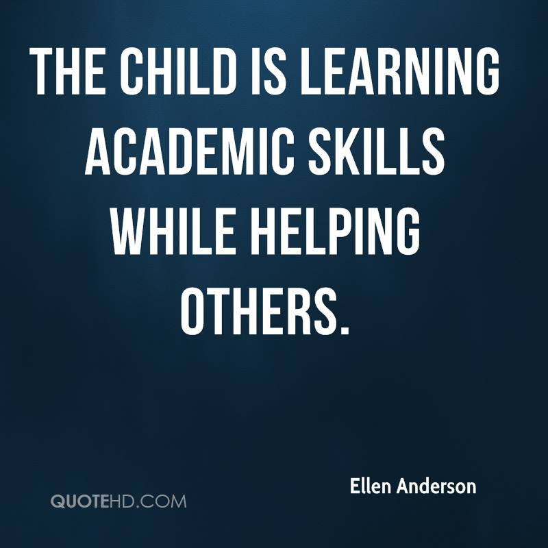 The child is learning academic skills while helping others.