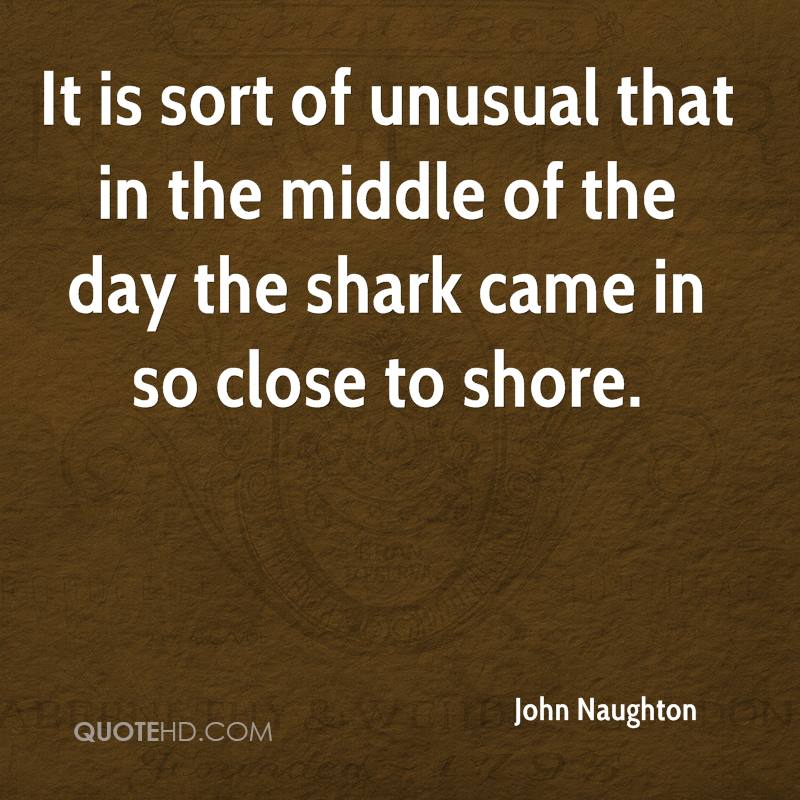 It is sort of unusual that in the middle of the day the shark came in so close to shore.