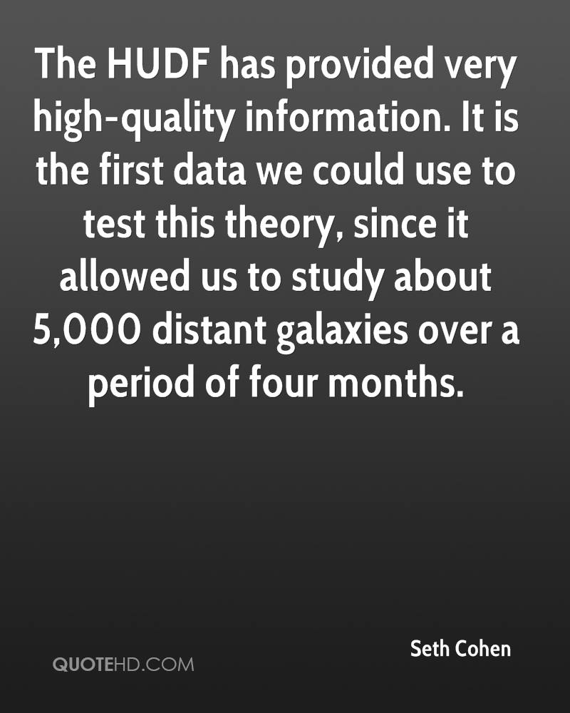 The HUDF has provided very high-quality information. It is the first data we could use to test this theory, since it allowed us to study about 5,000 distant galaxies over a period of four months.