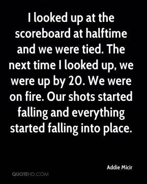 Addie Micir - I looked up at the scoreboard at halftime and we were tied. The next time I looked up, we were up by 20. We were on fire. Our shots started falling and everything started falling into place.