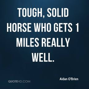 tough, solid horse who gets 1 miles really well.