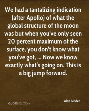 Alan Binder - We had a tantalizing indication (after Apollo) of what the global structure of the moon was but when you've only seen 20 percent maximum of the surface, you don't know what you've got, ... Now we know exactly what's going on. This is a big jump forward.