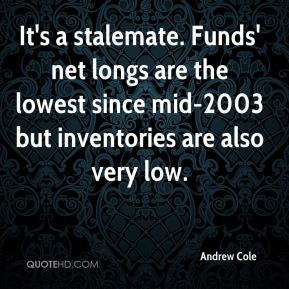 Andrew Cole - It's a stalemate. Funds' net longs are the lowest since mid-2003 but inventories are also very low.