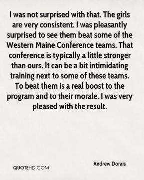 Andrew Dorais - I was not surprised with that. The girls are very consistent. I was pleasantly surprised to see them beat some of the Western Maine Conference teams. That conference is typically a little stronger than ours. It can be a bit intimidating training next to some of these teams. To beat them is a real boost to the program and to their morale. I was very pleased with the result.