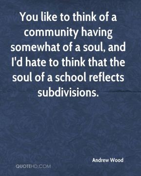 You like to think of a community having somewhat of a soul, and I'd hate to think that the soul of a school reflects subdivisions.