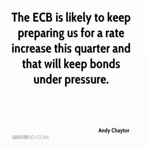 Andy Chaytor - The ECB is likely to keep preparing us for a rate increase this quarter and that will keep bonds under pressure.