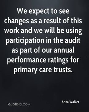 Anna Walker - We expect to see changes as a result of this work and we will be using participation in the audit as part of our annual performance ratings for primary care trusts.