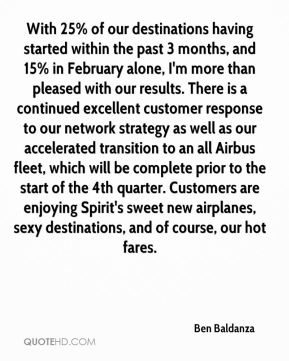 Ben Baldanza - With 25% of our destinations having started within the past 3 months, and 15% in February alone, I'm more than pleased with our results. There is a continued excellent customer response to our network strategy as well as our accelerated transition to an all Airbus fleet, which will be complete prior to the start of the 4th quarter. Customers are enjoying Spirit's sweet new airplanes, sexy destinations, and of course, our hot fares.