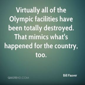 Virtually all of the Olympic facilities have been totally destroyed. That mimics what's happened for the country, too.