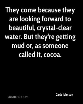 Carla Johnson - They come because they are looking forward to beautiful, crystal-clear water. But they're getting mud or, as someone called it, cocoa.