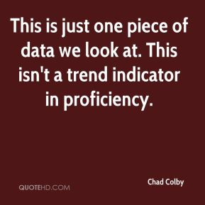 Chad Colby - This is just one piece of data we look at. This isn't a trend indicator in proficiency.
