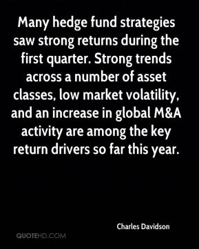 Charles Davidson - Many hedge fund strategies saw strong returns during the first quarter. Strong trends across a number of asset classes, low market volatility, and an increase in global M&A activity are among the key return drivers so far this year.