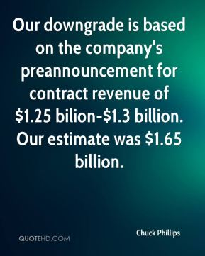 Chuck Phillips - Our downgrade is based on the company's preannouncement for contract revenue of $1.25 bilion-$1.3 billion. Our estimate was $1.65 billion.