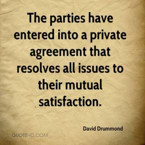 David Drummond - The parties have entered into a private agreement that resolves all issues to their mutual satisfaction.