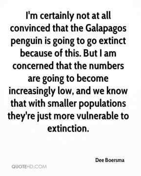 Dee Boersma - I'm certainly not at all convinced that the Galapagos penguin is going to go extinct because of this. But I am concerned that the numbers are going to become increasingly low, and we know that with smaller populations they're just more vulnerable to extinction.