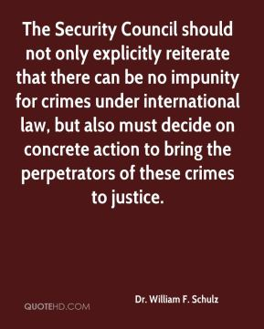 Dr. William F. Schulz - The Security Council should not only explicitly reiterate that there can be no impunity for crimes under international law, but also must decide on concrete action to bring the perpetrators of these crimes to justice.
