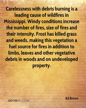Ed Brown - Carelessness with debris burning is a leading cause of wildfires in Mississippi. Windy conditions increase the number of fires, size of fires and their intensity. Frost has killed grass and weeds, making this vegetation a fuel source for fires in addition to limbs, leaves and other vegetative debris in woods and on undeveloped property.