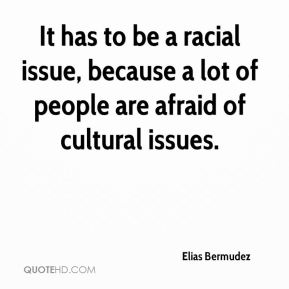 It has to be a racial issue, because a lot of people are afraid of cultural issues.