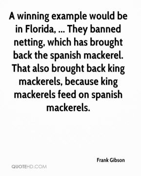Frank Gibson - A winning example would be in Florida, ... They banned netting, which has brought back the spanish mackerel. That also brought back king mackerels, because king mackerels feed on spanish mackerels.